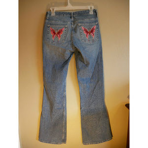 Boot cut Jeans with Pink Butterfly Appliques